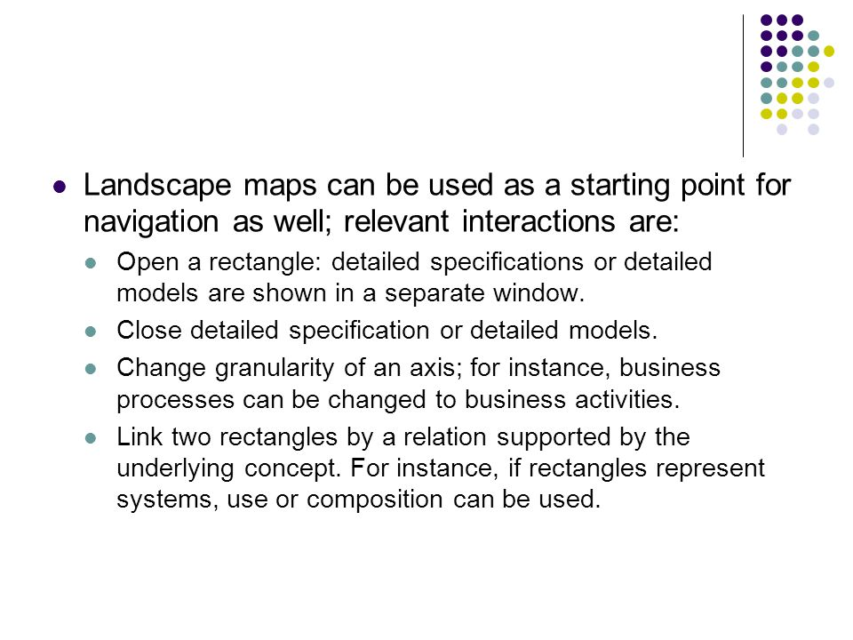 Landscape maps can be used as a starting point for navigation as well; relevant interactions are: