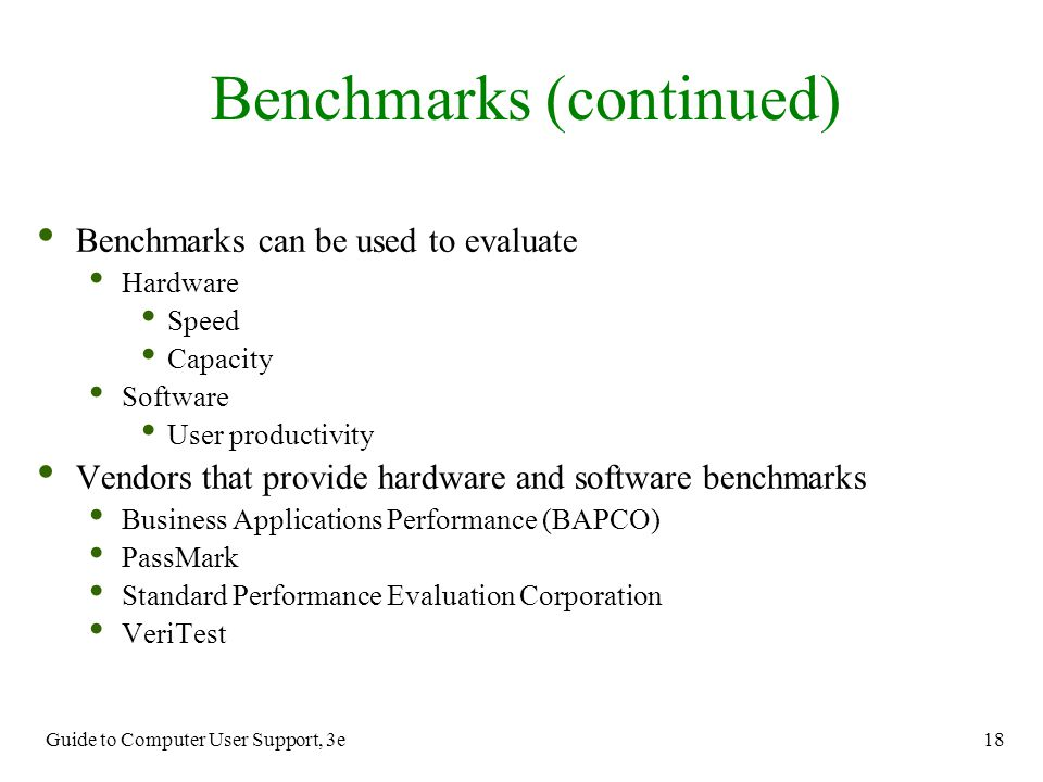 Benchmarks (continued)