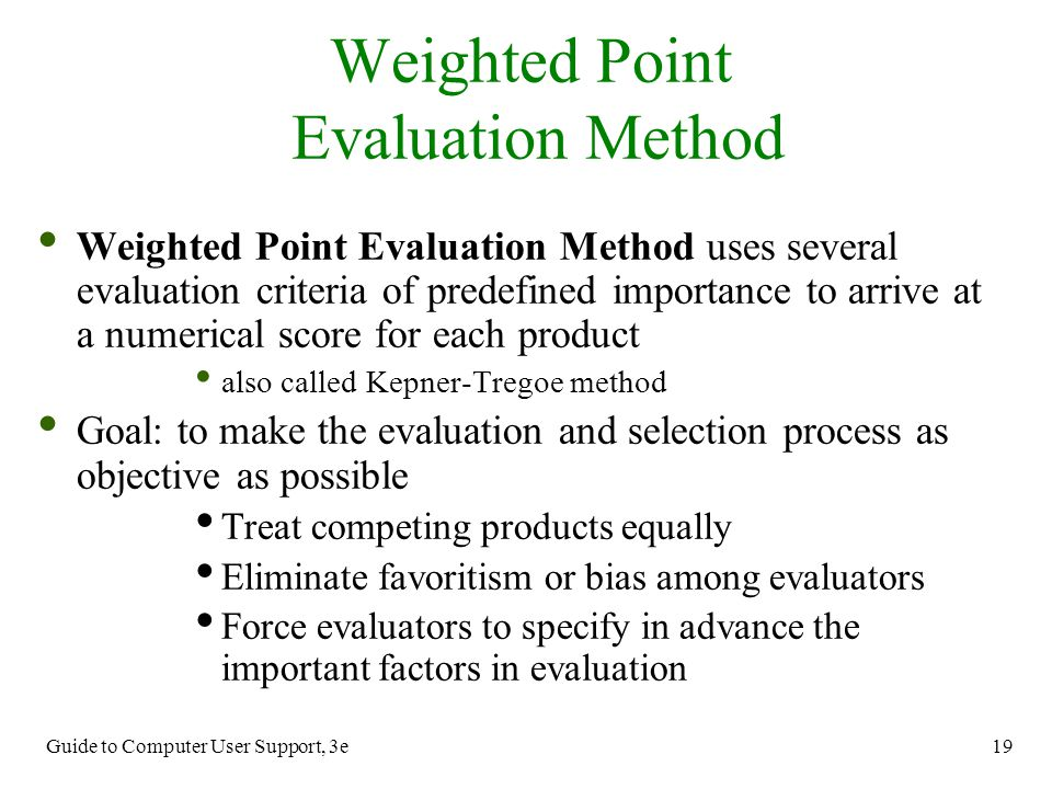Weighted Point Evaluation Method