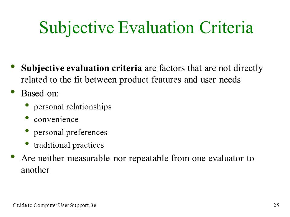 Subjective Evaluation Criteria