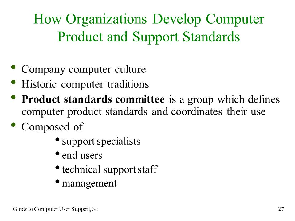 How Organizations Develop Computer Product and Support Standards