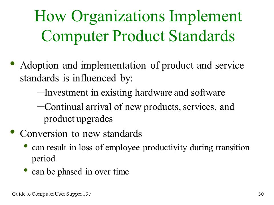 How Organizations Implement Computer Product Standards