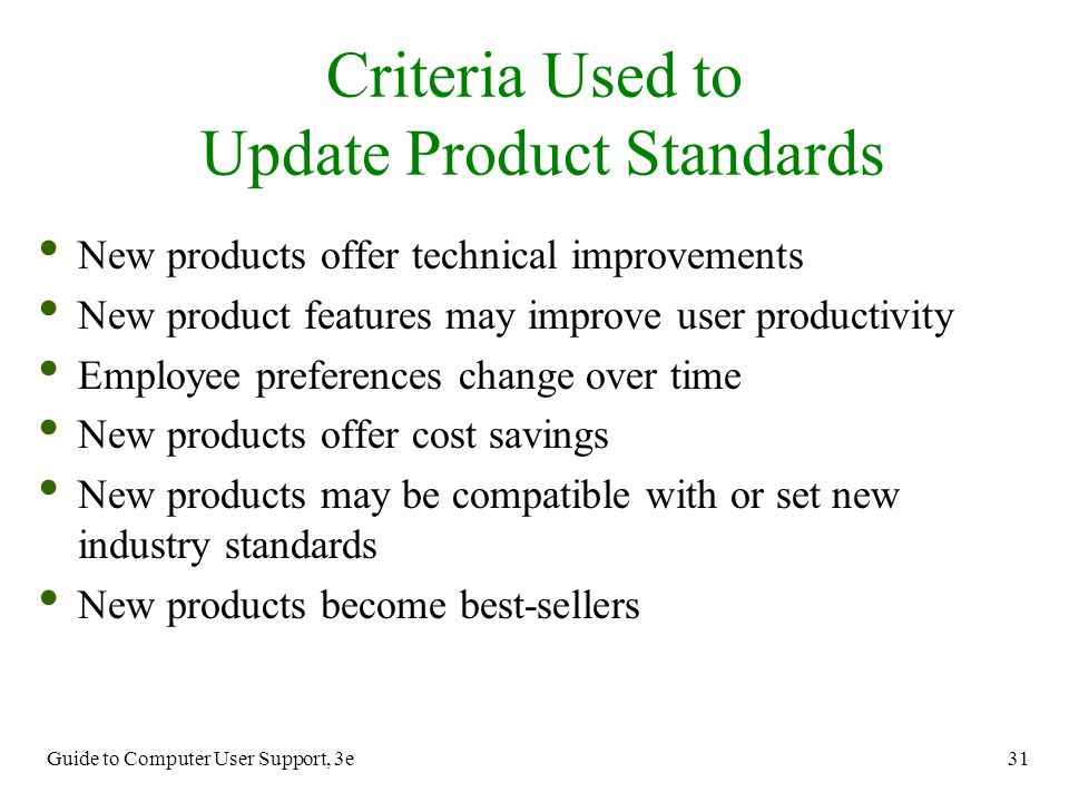 Criteria Used to Update Product Standards