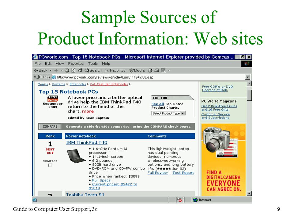 Sample Sources of Product Information: Web sites