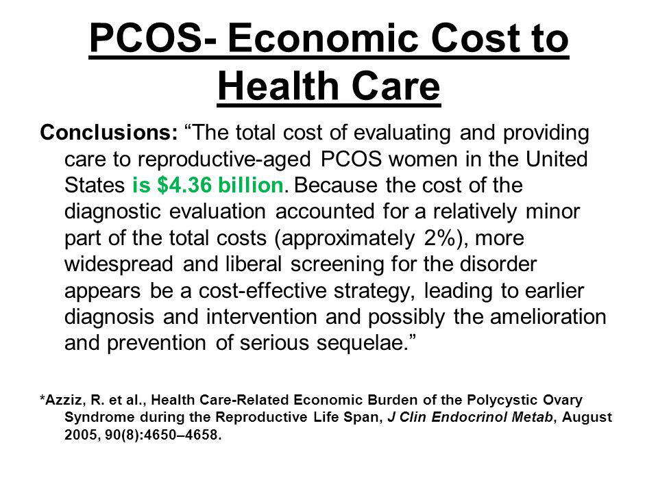 PCOS- Economic Cost to Health Care