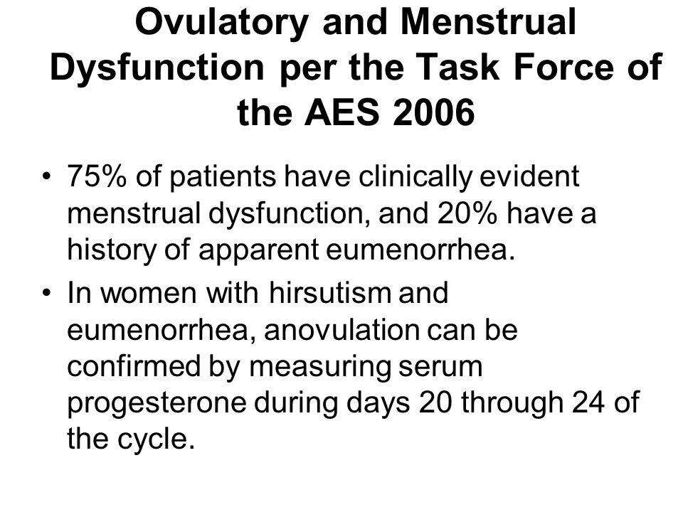 Ovulatory and Menstrual Dysfunction per the Task Force of the AES 2006