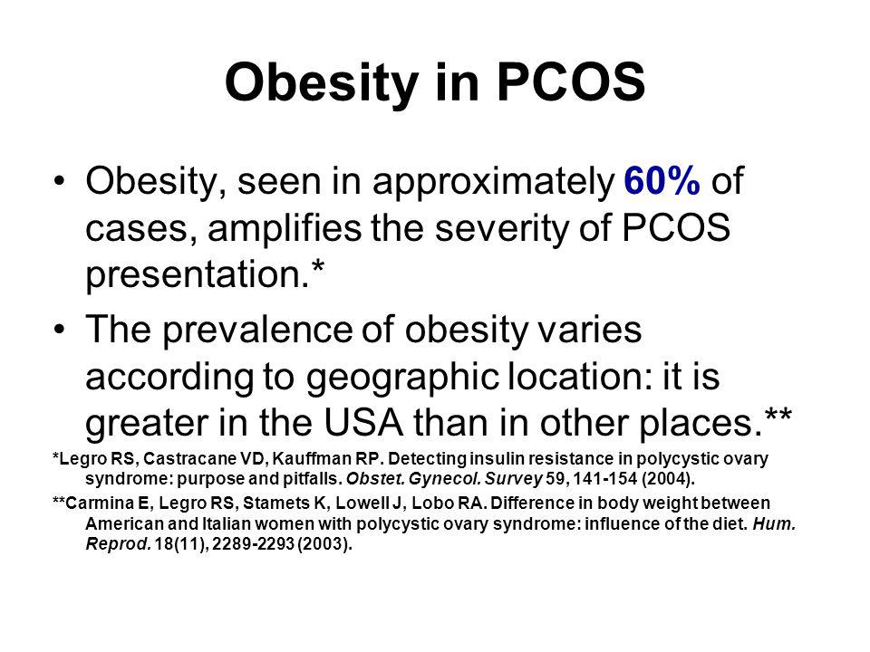 Obesity in PCOS Obesity, seen in approximately 60% of cases, amplifies the severity of PCOS presentation.*