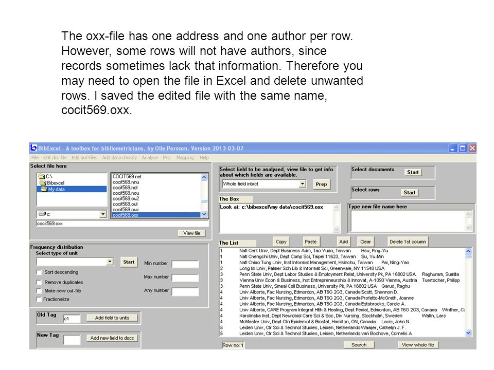 The oxx-file has one address and one author per row