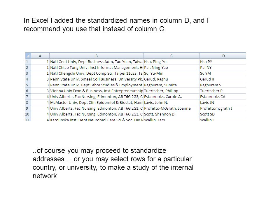 In Excel I added the standardized names in column D, and I recommend you use that instead of column C.