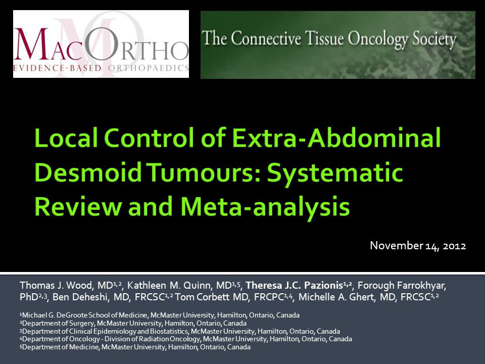 Local Control of Extra-Abdominal Desmoid Tumours: Systematic Review and Meta-analysis