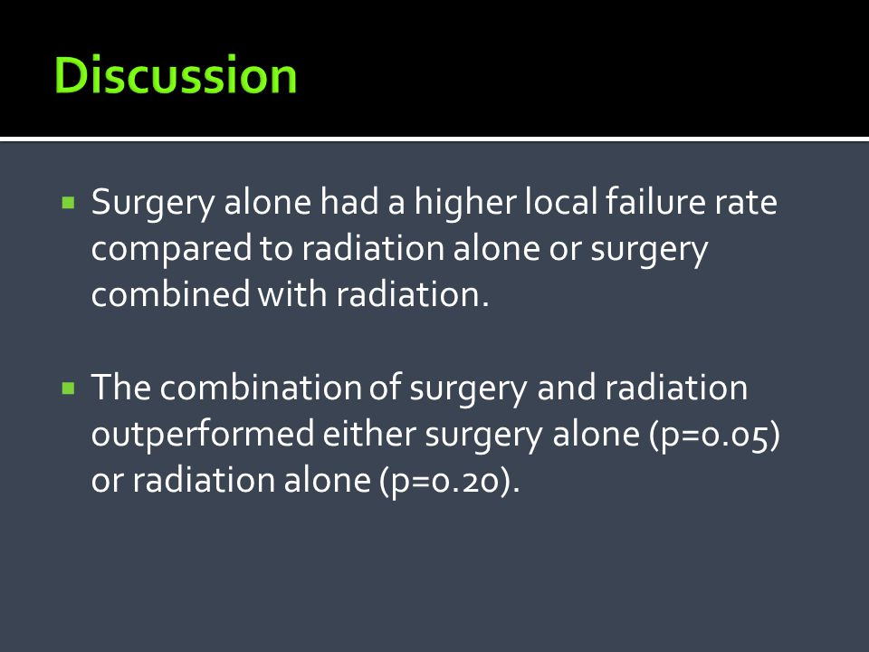 Discussion Surgery alone had a higher local failure rate compared to radiation alone or surgery combined with radiation.