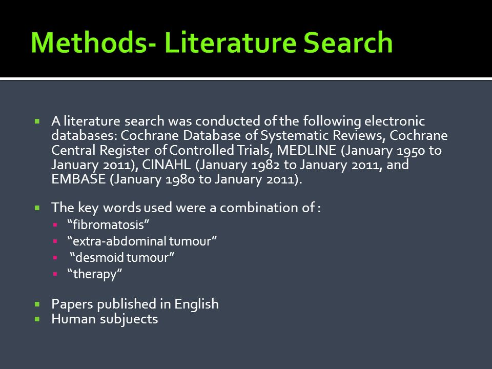 Methods- Literature Search