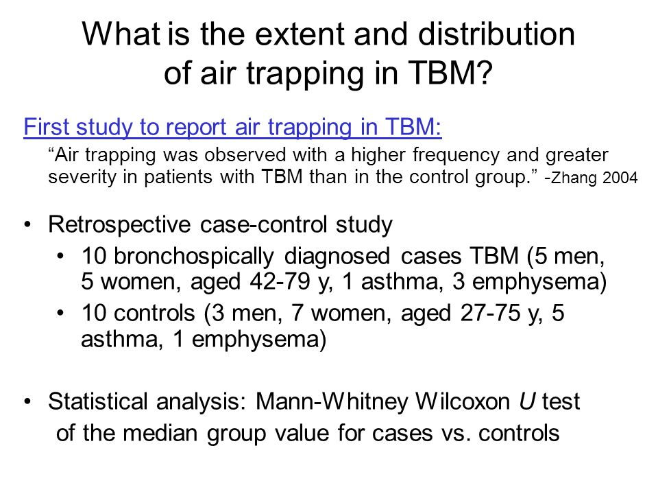 What is the extent and distribution of air trapping in TBM