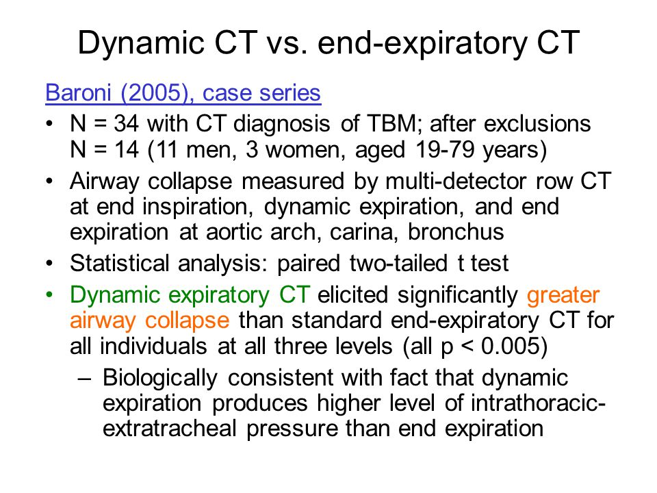 Dynamic CT vs. end-expiratory CT