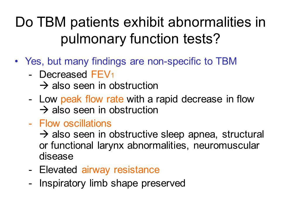 Do TBM patients exhibit abnormalities in pulmonary function tests