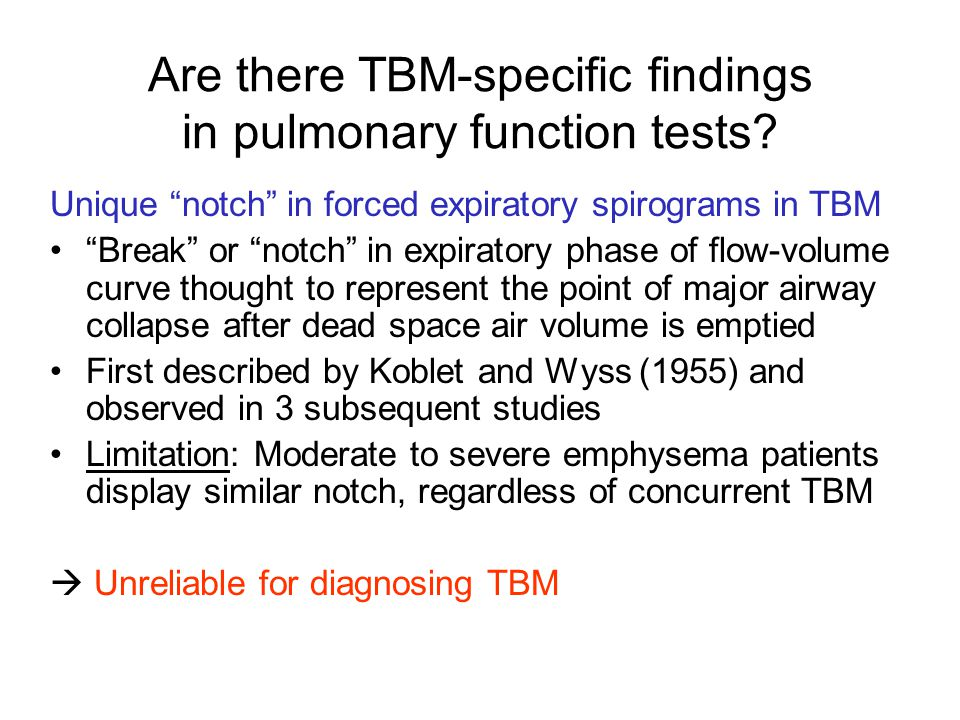 Are there TBM-specific findings in pulmonary function tests