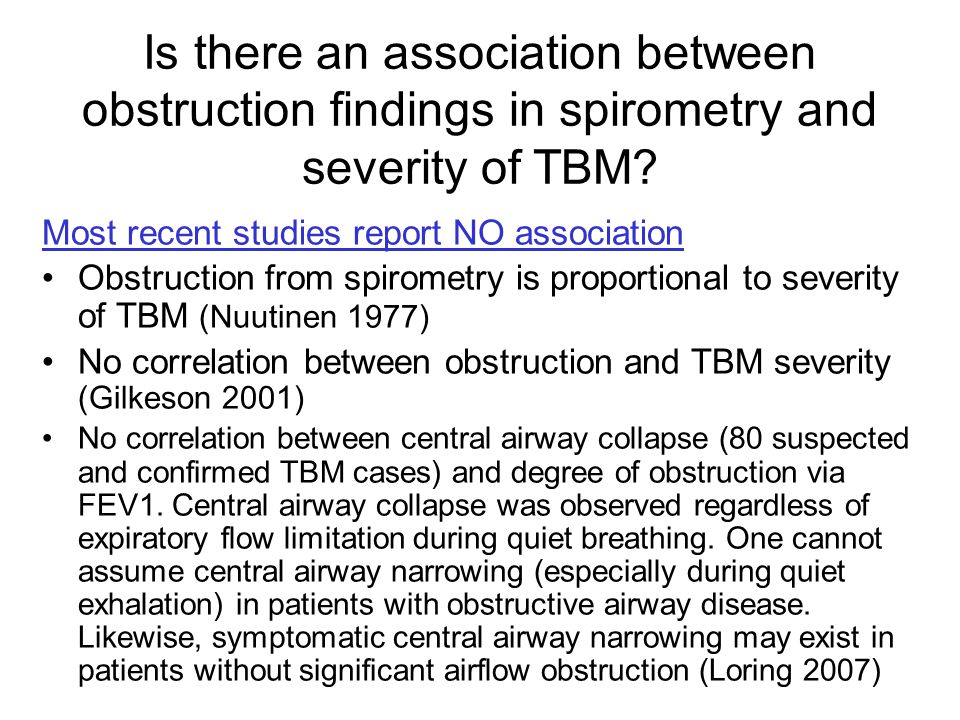 Is there an association between obstruction findings in spirometry and severity of TBM