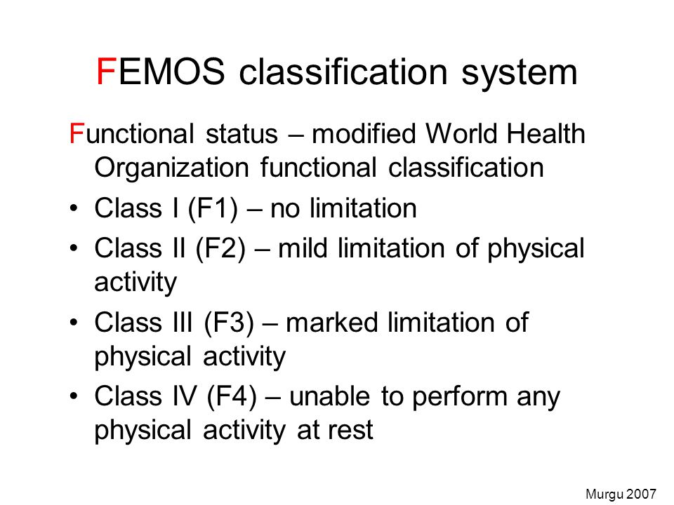 FEMOS classification system
