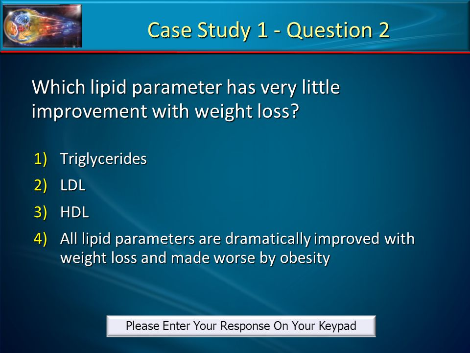 Which lipid parameter has very little improvement with weight loss
