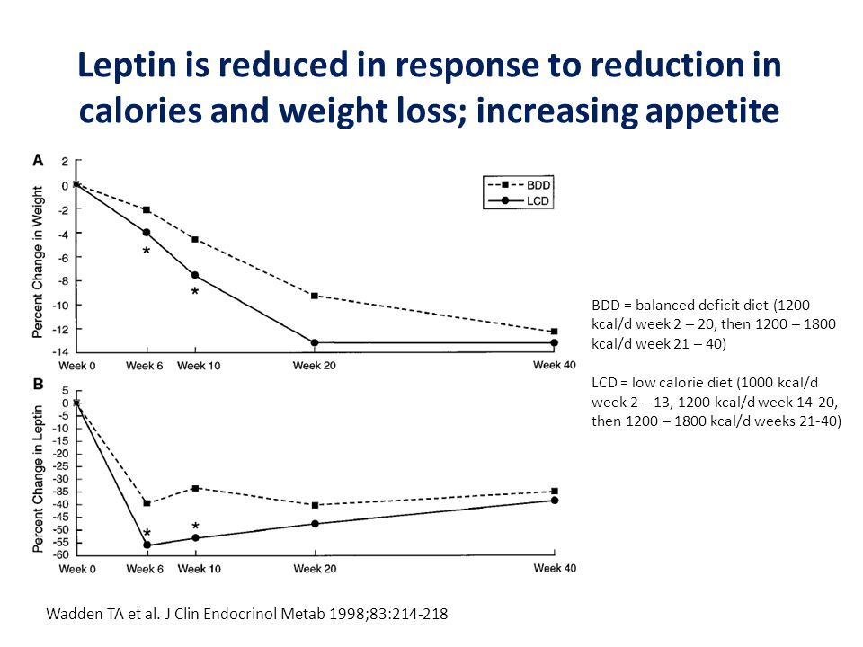 Leptin is reduced in response to reduction in calories and weight loss; increasing appetite