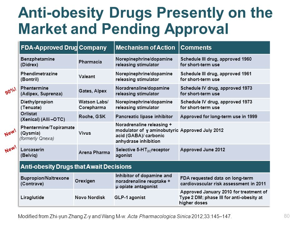 Anti-obesity Drugs Presently on the Market and Pending Approval