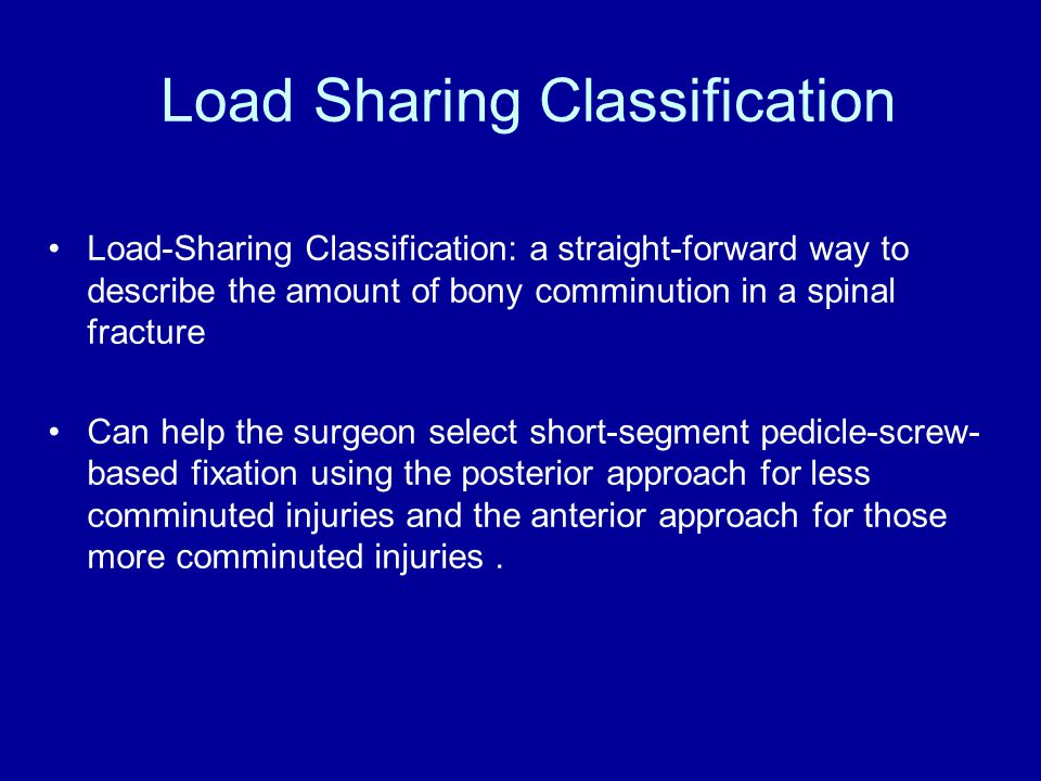 Load Sharing Classification