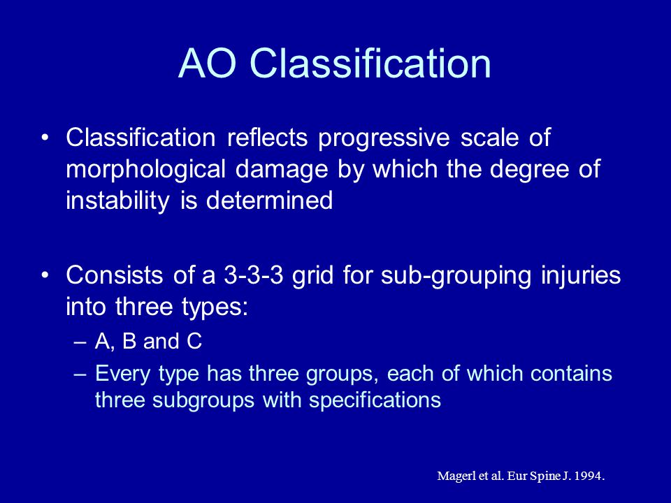 AO Classification Classification reflects progressive scale of morphological damage by which the degree of instability is determined.