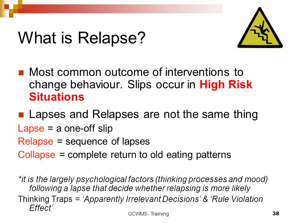 What is Relapse Most common outcome of interventions to change behaviour. Slips occur in High Risk Situations.