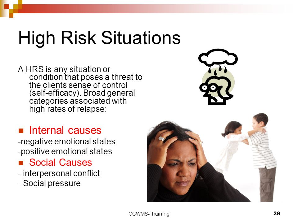 High Risk Situations Internal causes Social Causes