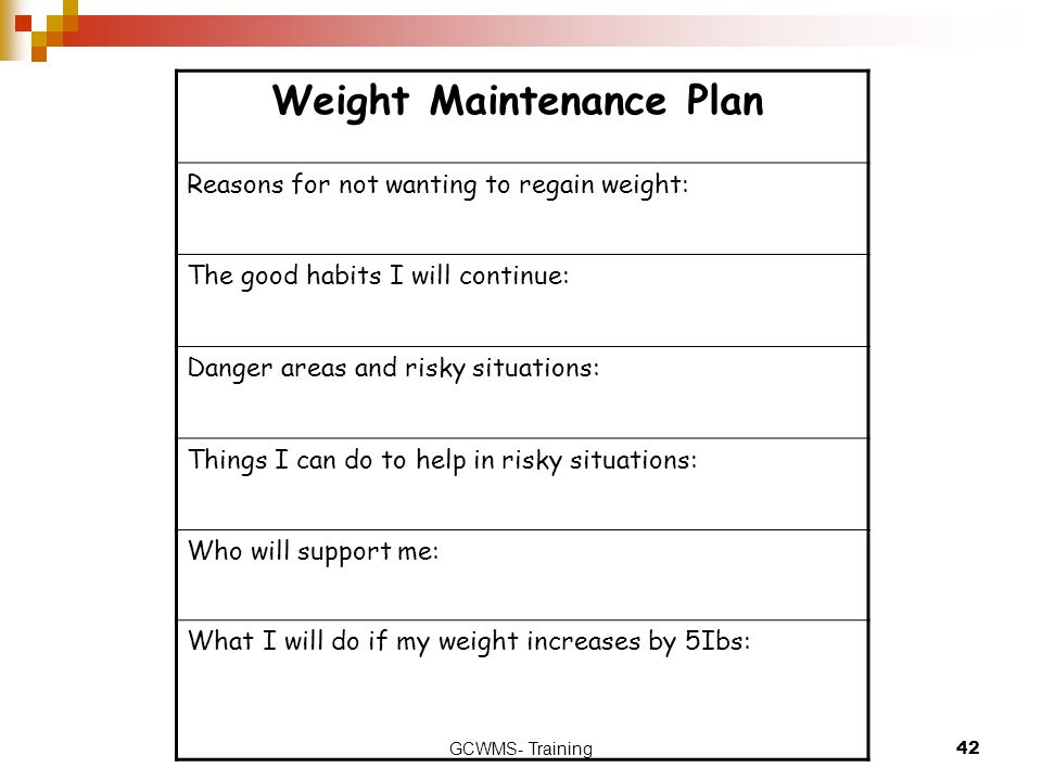 Weight Maintenance Plan