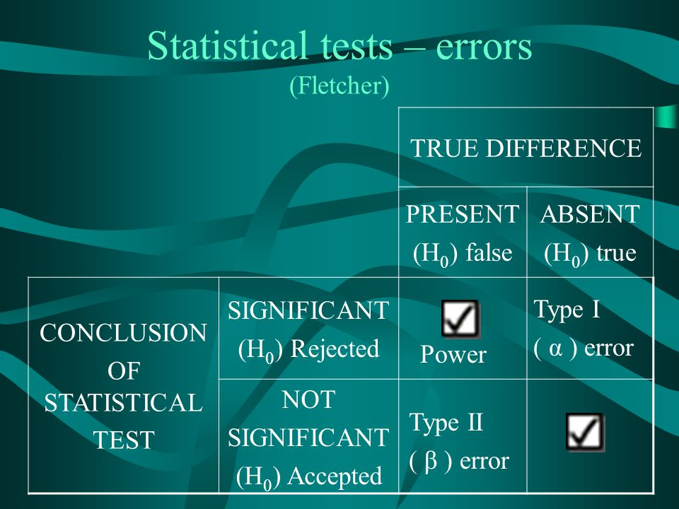 Statistical tests – errors (Fletcher)