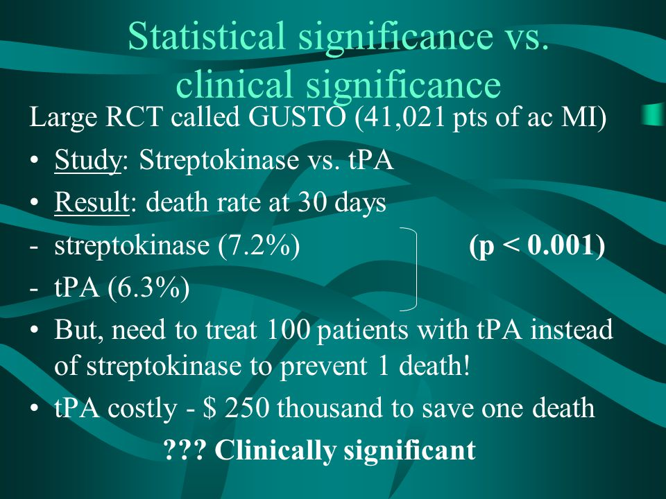 Statistical significance vs. clinical significance