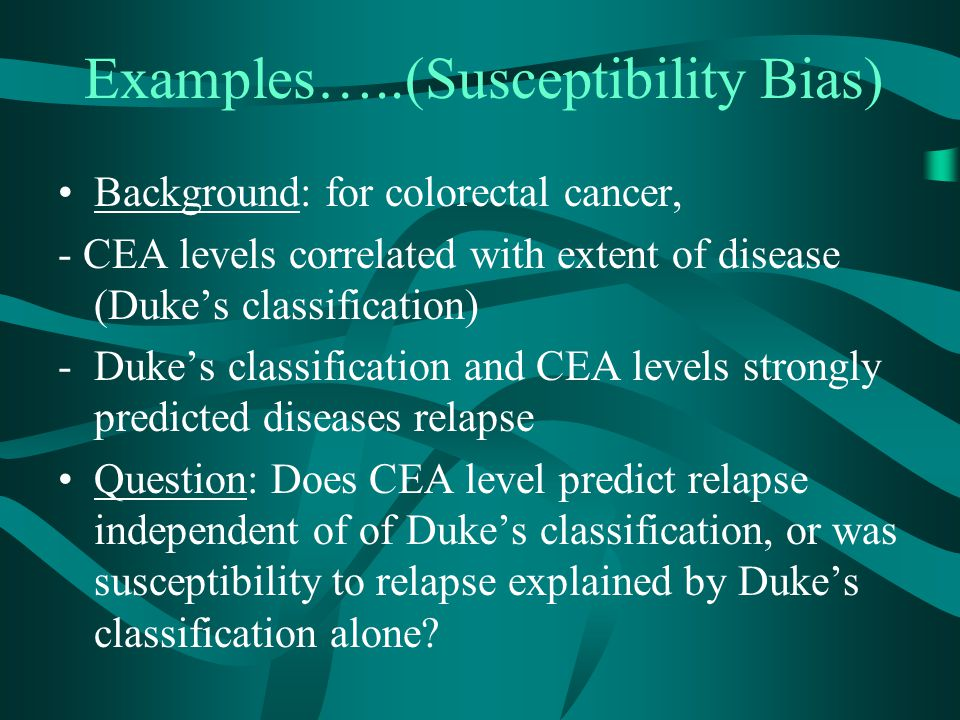 Examples…..(Susceptibility Bias)