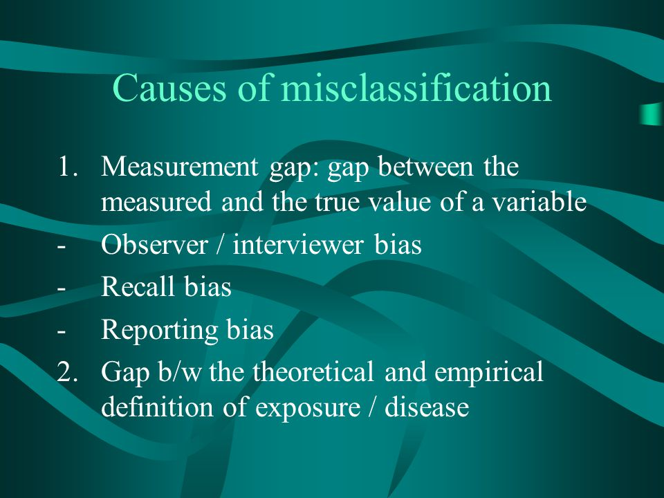 Causes of misclassification