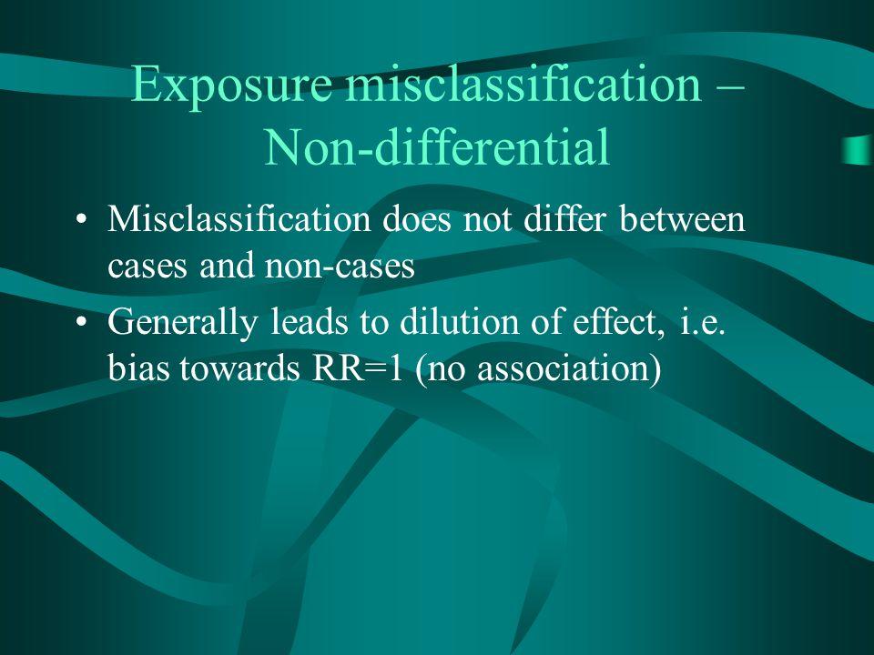 Exposure misclassification – Non-differential