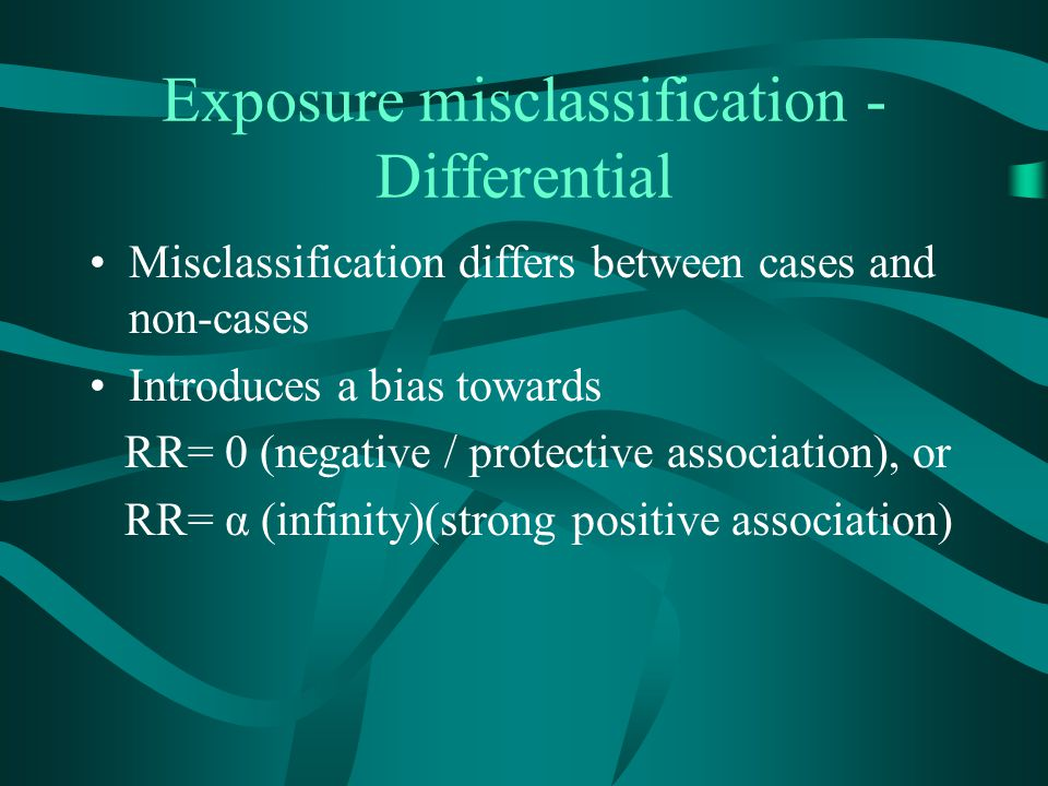 Exposure misclassification - Differential