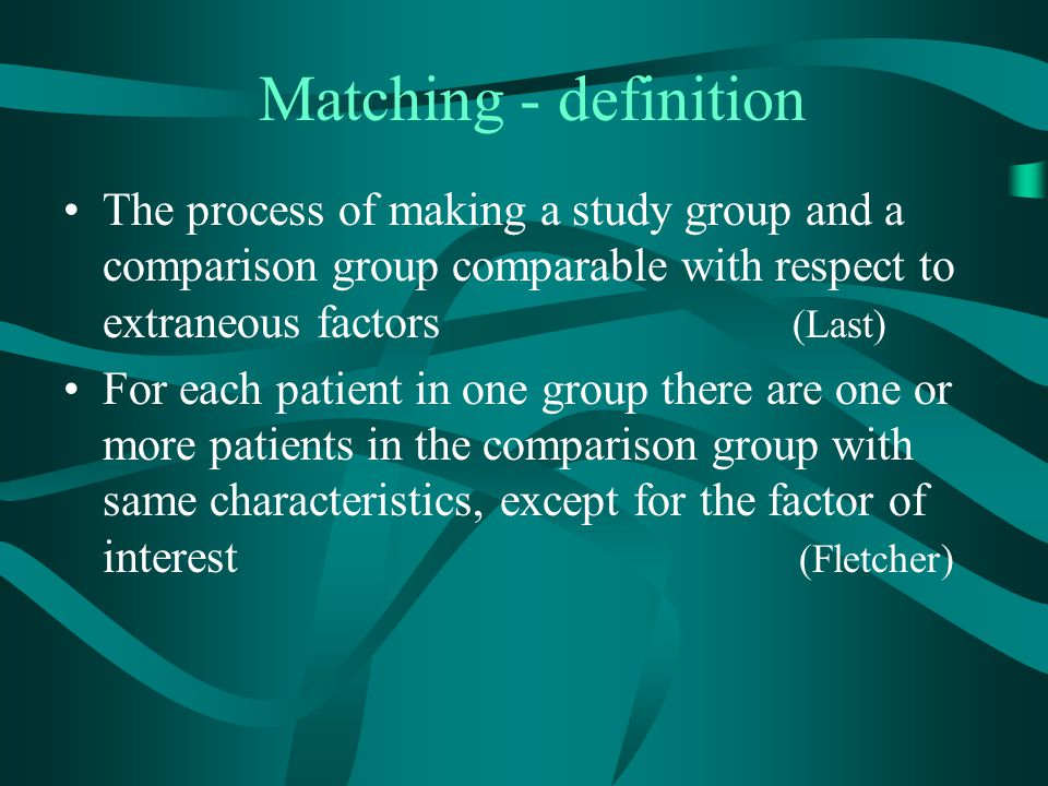 Matching - definition