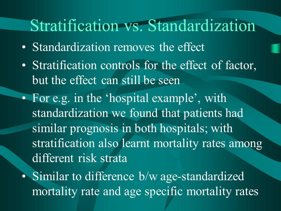 Stratification vs. Standardization