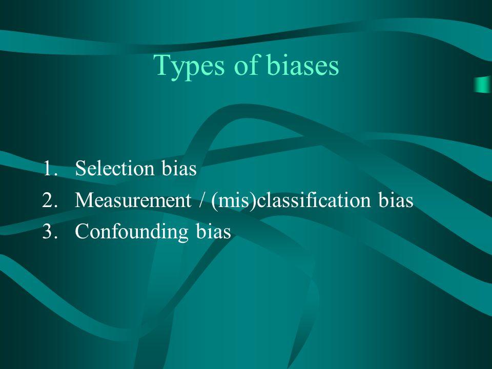 Types of biases Selection bias Measurement / (mis)classification bias