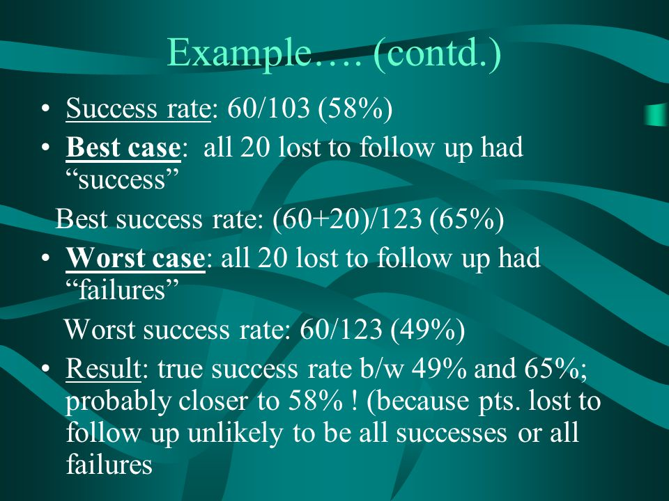 Example…. (contd.) Success rate: 60/103 (58%)