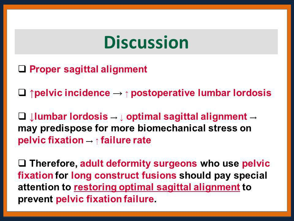 Discussion Proper sagittal alignment