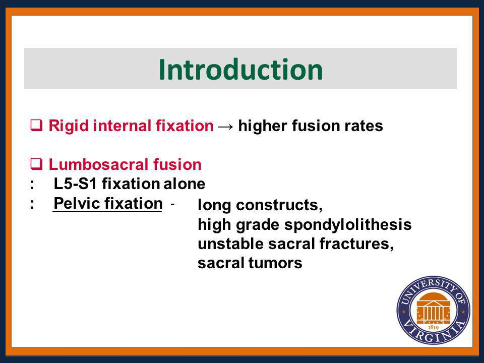 Introduction Rigid internal fixation → higher fusion rates
