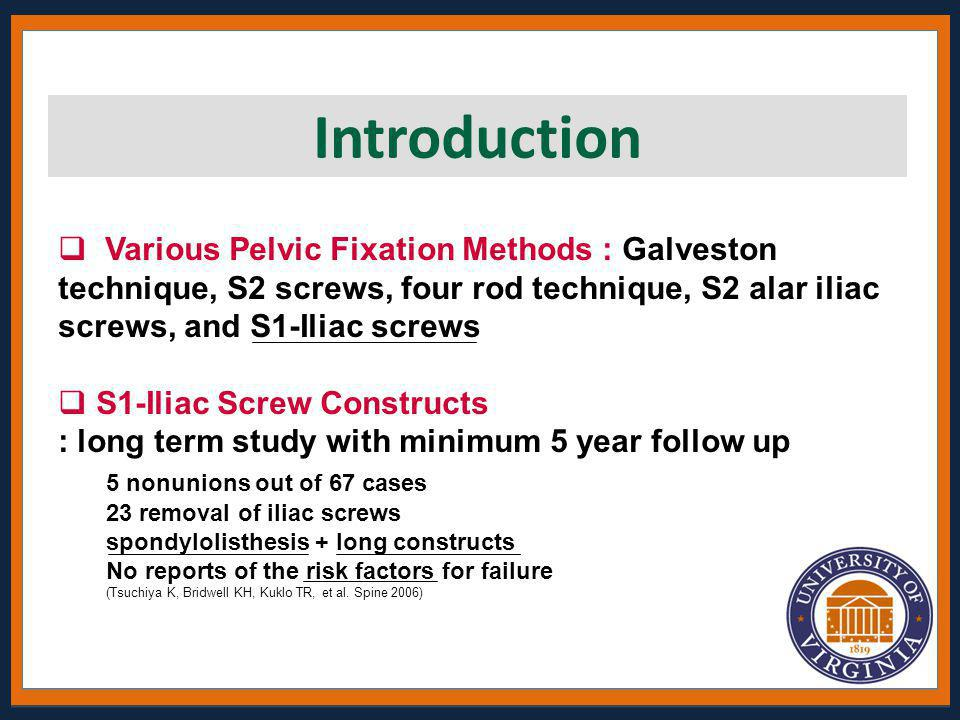 Introduction Various Pelvic Fixation Methods : Galveston technique, S2 screws, four rod technique, S2 alar iliac screws, and S1-Iliac screws.