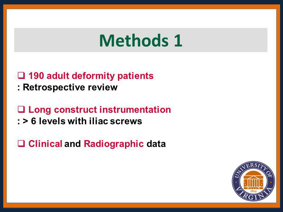 Methods 1 190 adult deformity patients : Retrospective review