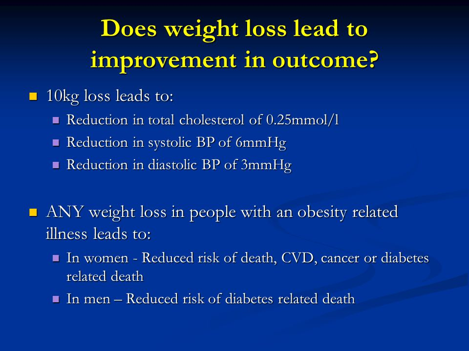 Does weight loss lead to improvement in outcome
