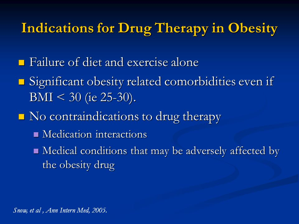 Indications for Drug Therapy in Obesity