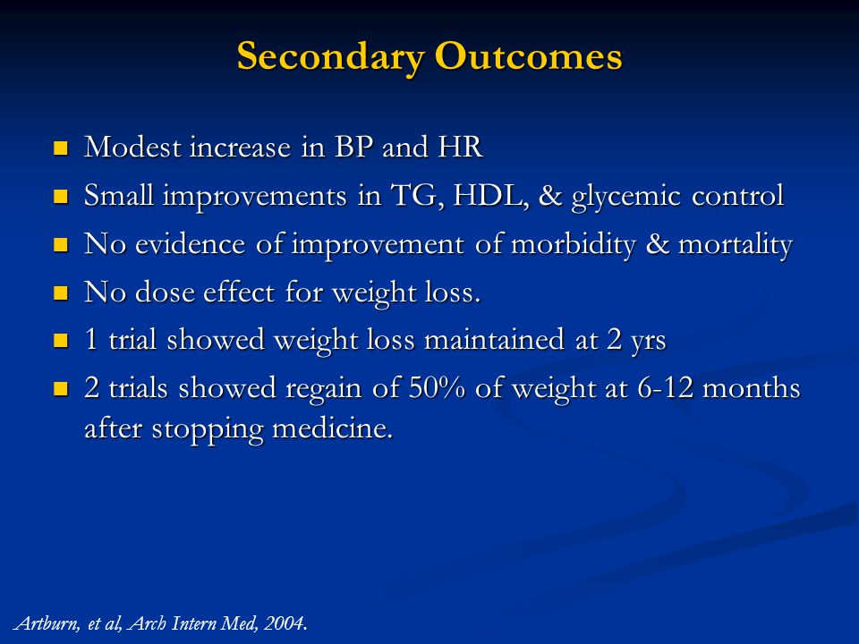 Secondary Outcomes Modest increase in BP and HR