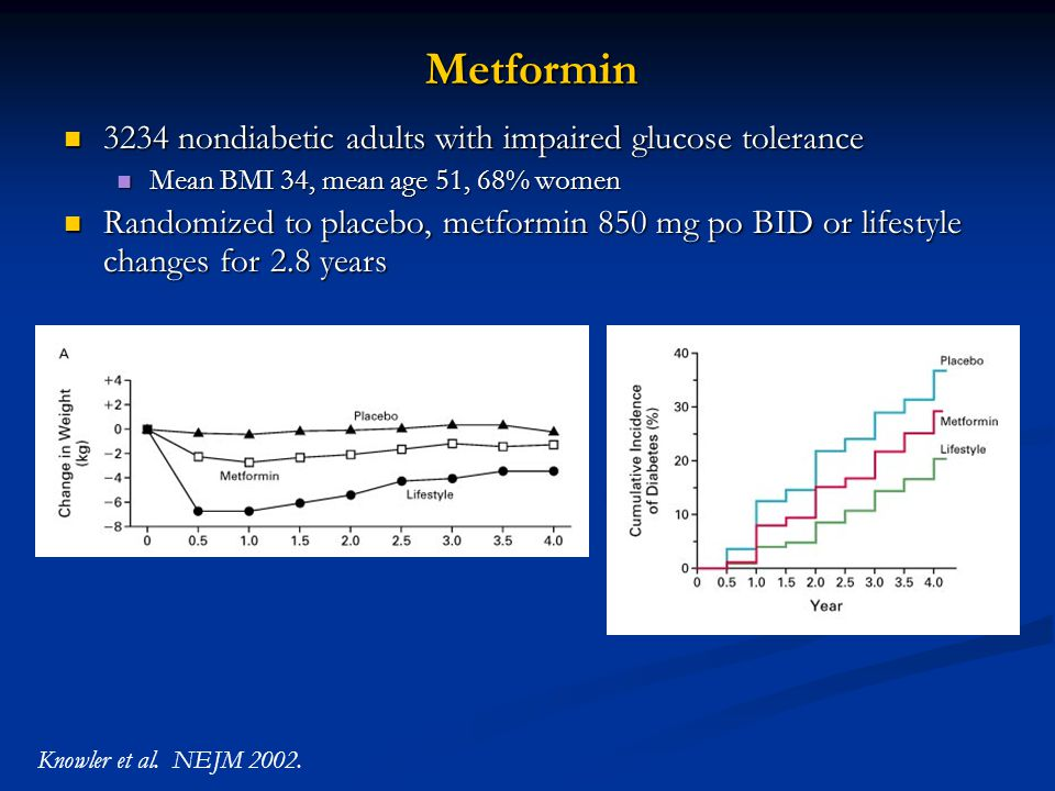Metformin 3234 nondiabetic adults with impaired glucose tolerance