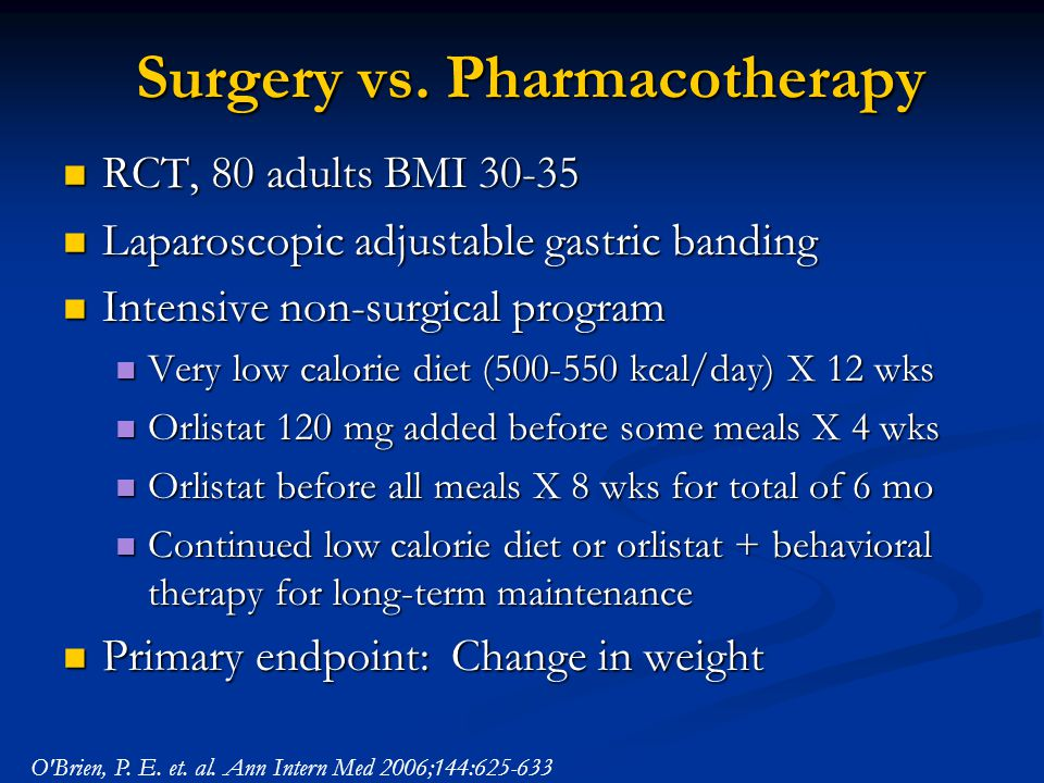 Surgery vs. Pharmacotherapy