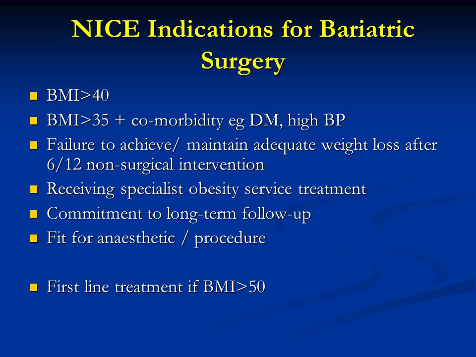 NICE Indications for Bariatric Surgery